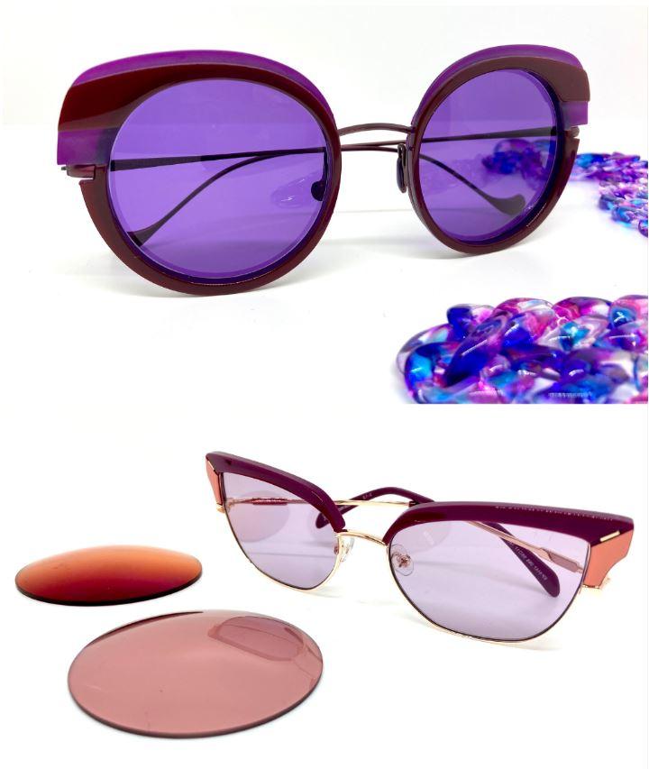 occhiali con lenti rosa e viola ametista